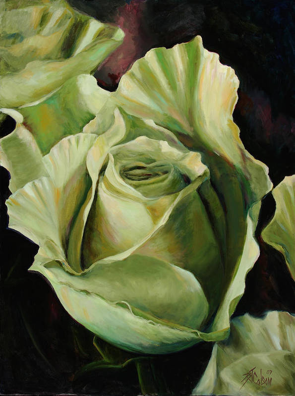 Roses Art Print featuring the painting Grand -opening by Billie Colson