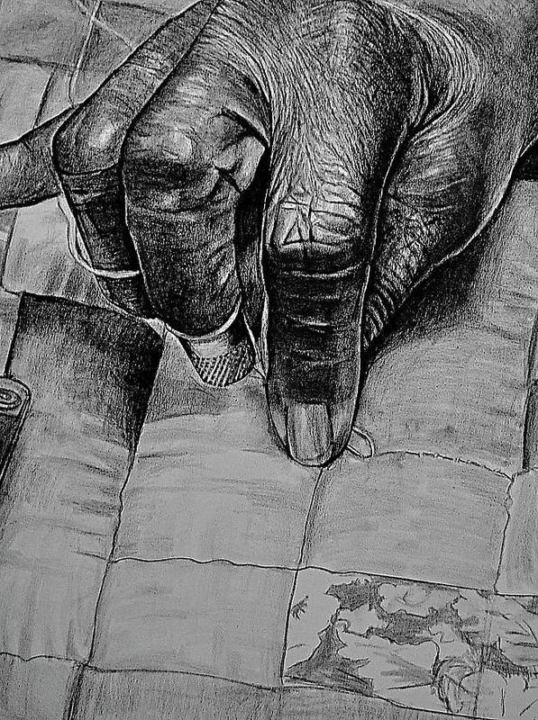 Hands Art Print featuring the drawing Grandma's Hands by Curtis James