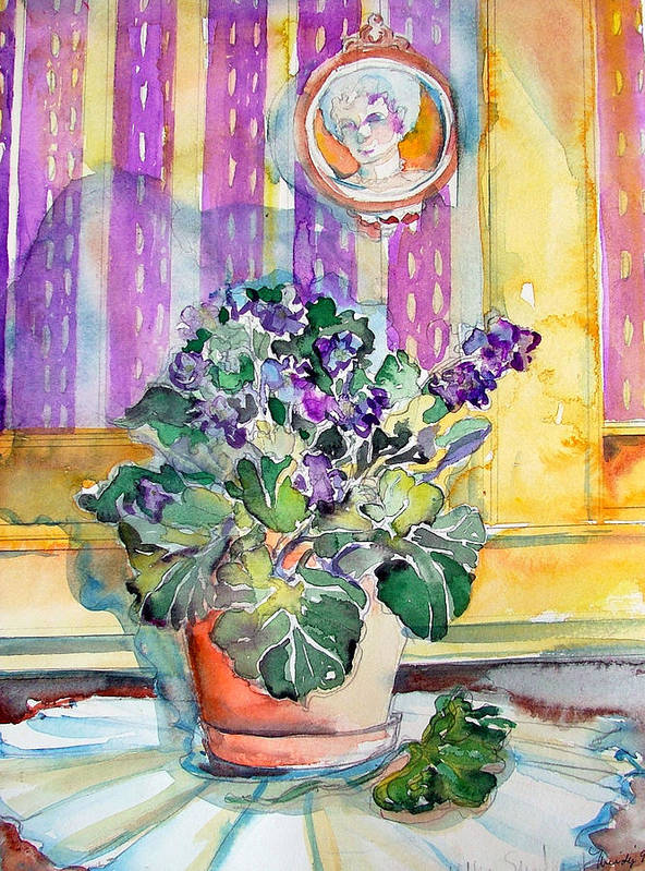 Violets Art Print featuring the painting Grandmas' Violets by Mindy Newman