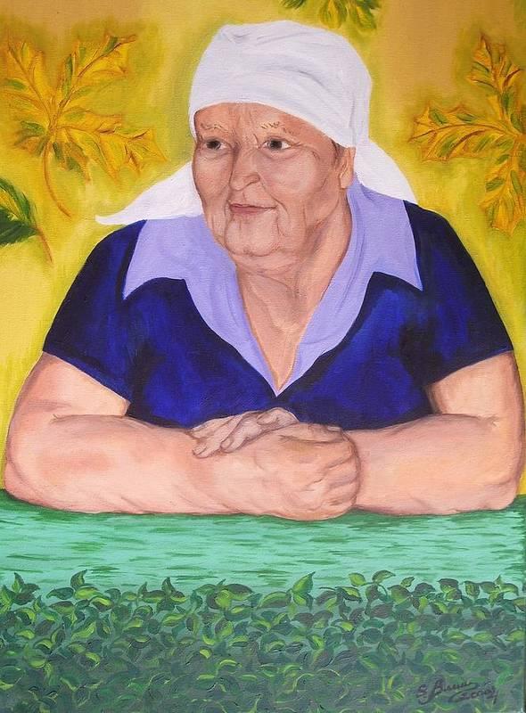 Art Art Print featuring the painting Granny Katiya by Svetlana Vinokurtsev