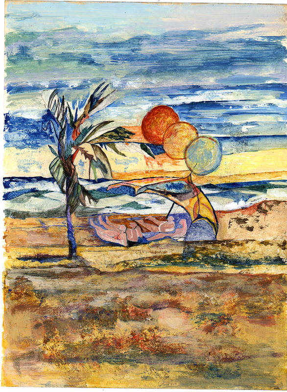 Seascape Art Print featuring the painting Group At The Beach by Lily Hymen