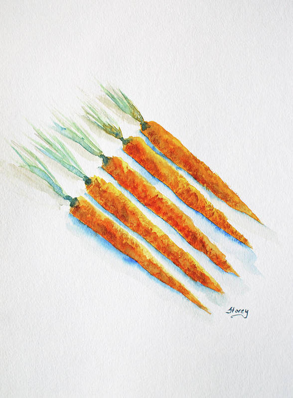 Carrots Art Print featuring the painting Group Of Carrots by Tina Storey