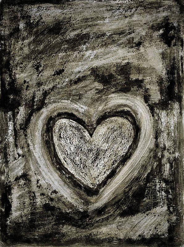 Abstract Art Art Print featuring the painting Grunge Heart by Frank Tschakert
