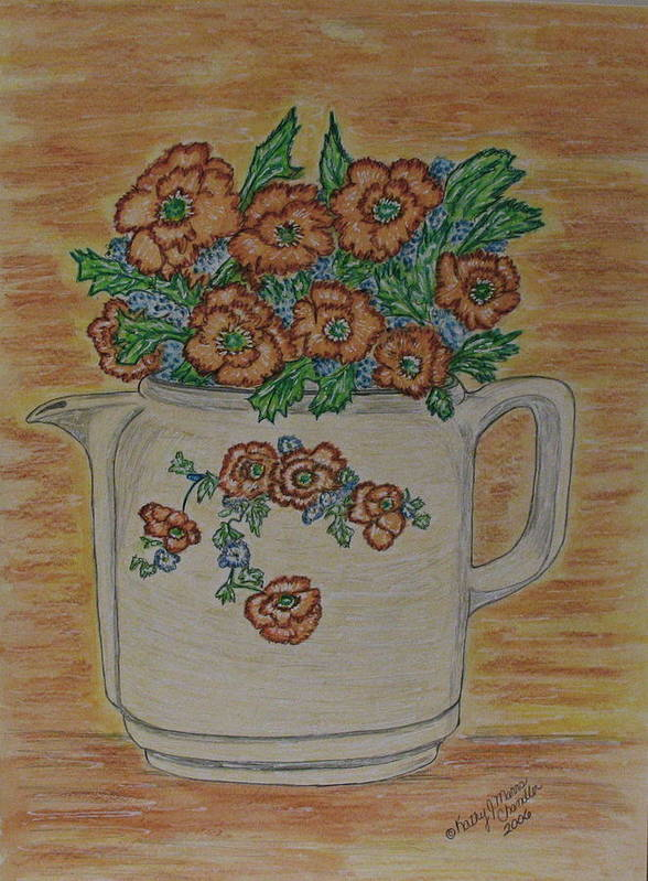 Hall China Art Print featuring the painting Hall China Orange Poppy And Poppies by Kathy Marrs Chandler