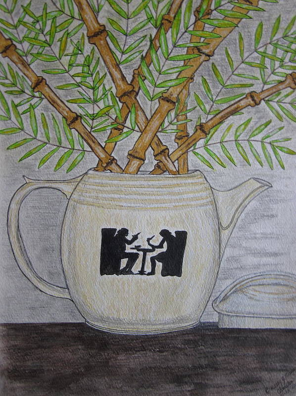 Hall China Art Print featuring the painting Hall China Silhouette Pitcher With Bamboo by Kathy Marrs Chandler