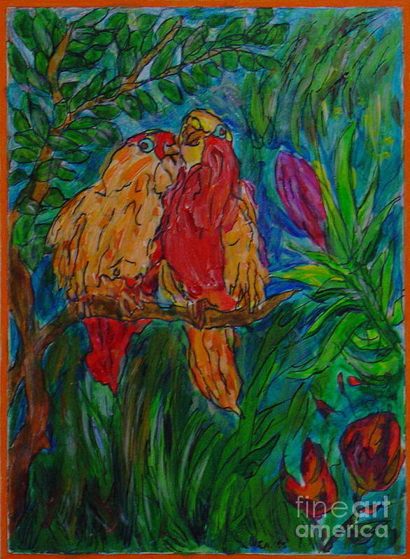 Birds Tropical Couple Pair Illustration Original Leilaatkinson Art Print featuring the painting Happy Pair by Leila Atkinson