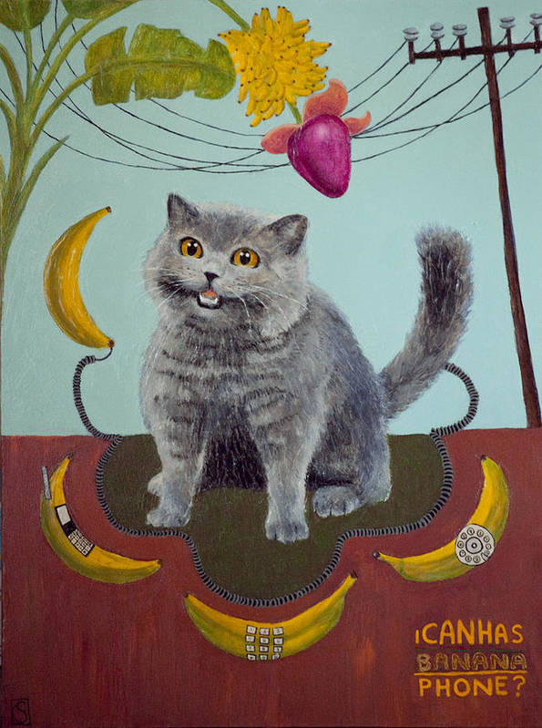 Lolcat Art Print featuring the painting Happycat Can Has Banana Phone by Julia Collard