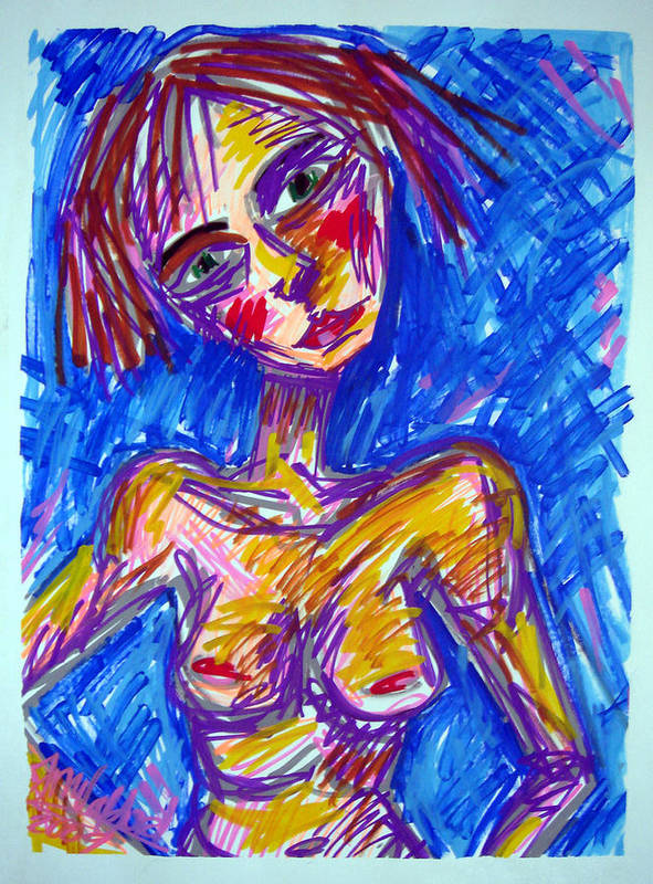 Woman Art Print featuring the painting Harrassed by Jenni Walford