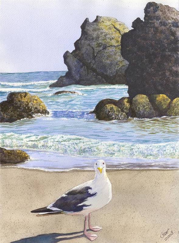 Oregon Coast Art Print featuring the painting Harris Beach by Catherine G McElroy