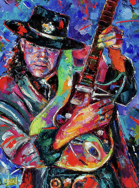 Stevie Ray Vaughan Art Print featuring the painting Hat And Guitar by Debra Hurd