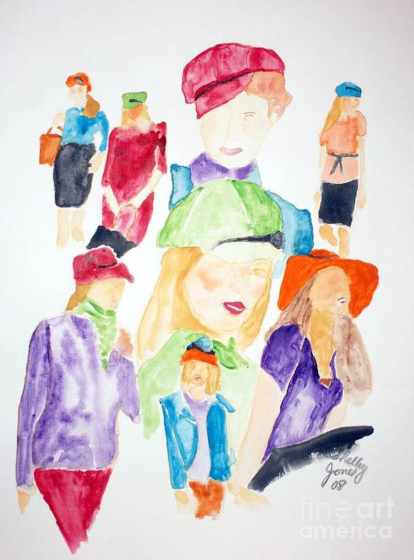 Hats Art Print featuring the painting Hats by Shelley Jones