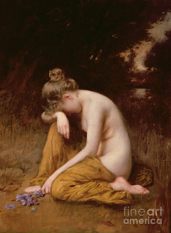 Nude Print featuring the painting He Loves Me He Loves Me Not by Robert Fowler