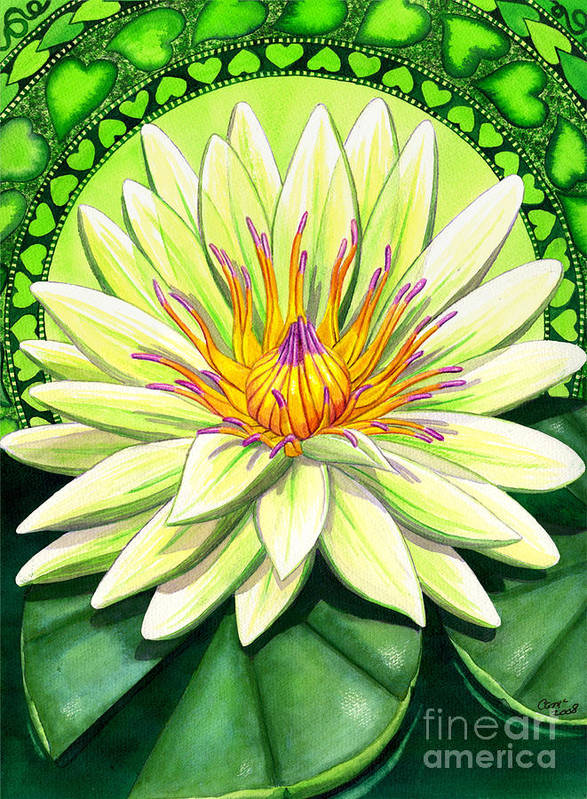 Heart Art Print featuring the painting Heart Chakra by Catherine G McElroy
