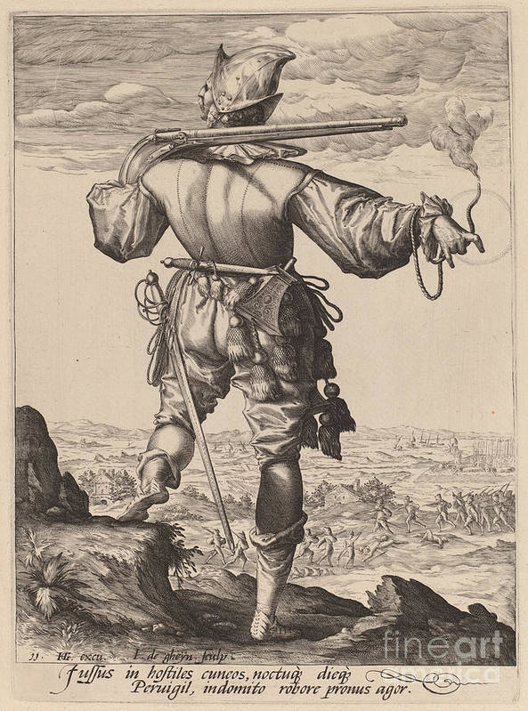 Art Print featuring the drawing Helmeted Musketeer by Jacques De Gheyn Ii After Hendrik Goltzius