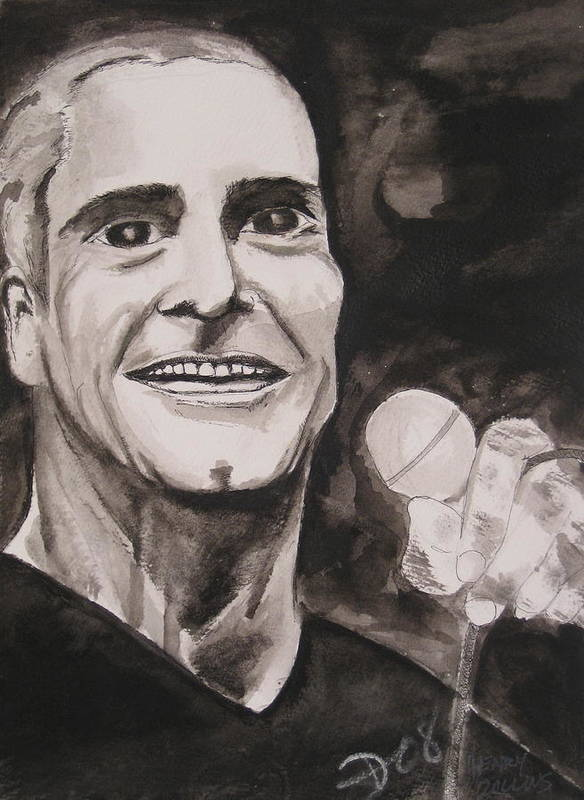 Author Black Darkestartist Flag Henry Ink Musician Panting Portrait Rollins Spoken Watercolor Darkest Artist Art Print featuring the painting Henry Rollins by Darkest Artist
