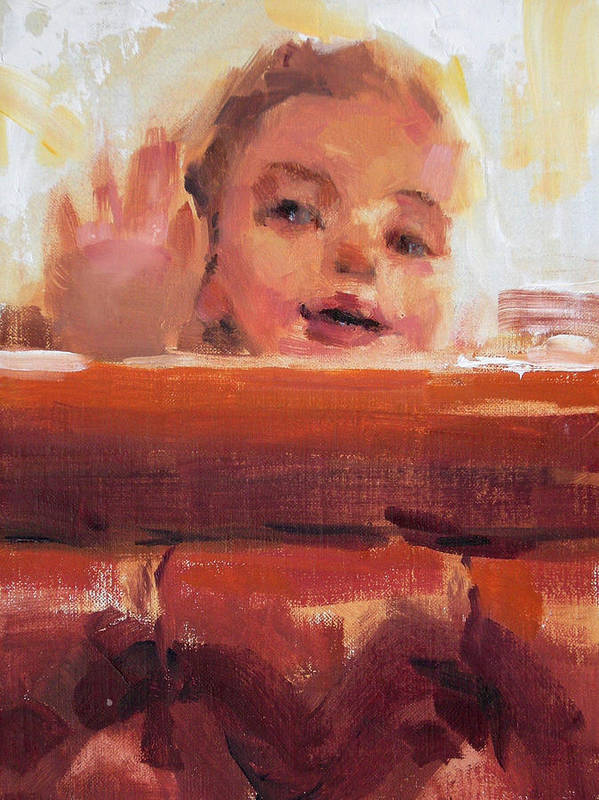 Child Art Print featuring the painting Hi There by Merle Keller