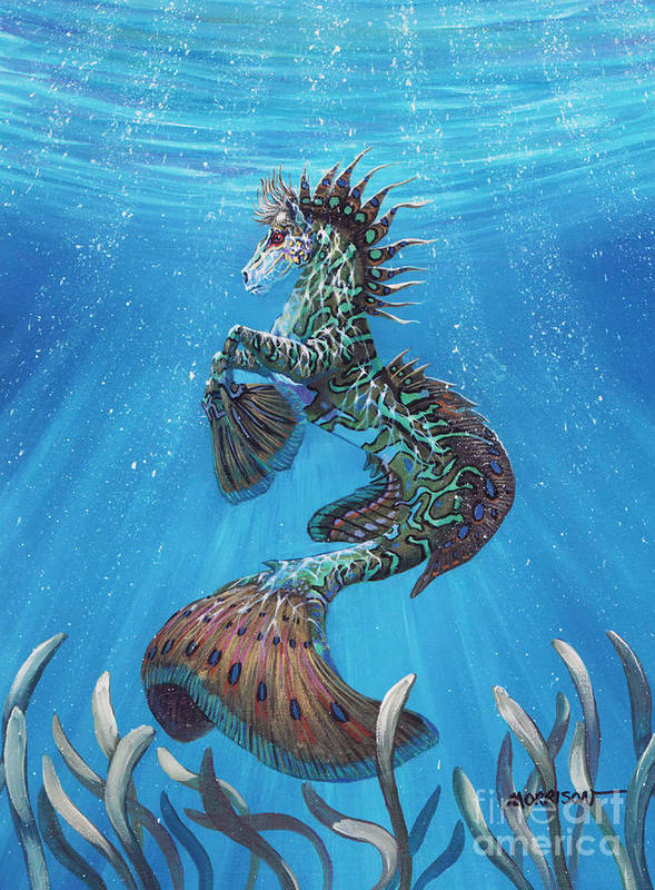 Seahorse Art Print featuring the painting Hippocampus by Stanley Morrison