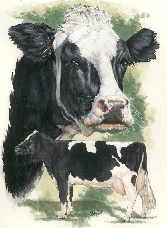 Cow Art Print featuring the mixed media Holstein by Barbara Keith