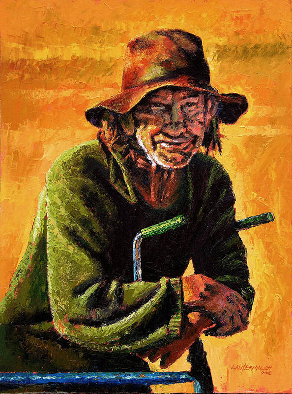 Homeless Man With Bike Art Print featuring the painting Homeless by John Lautermilch
