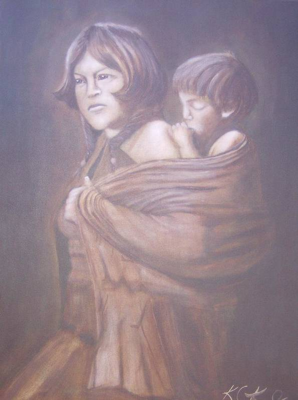 Indians Art Print featuring the painting Hopi Mother by KC Knight