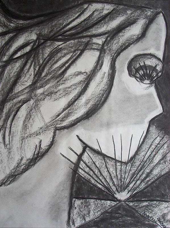 Face Art Print featuring the drawing Horizon by Marsha Ferguson