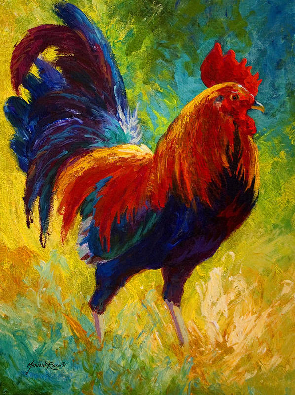 Rooster Art Print featuring the painting Hot Shot - Rooster by Marion Rose