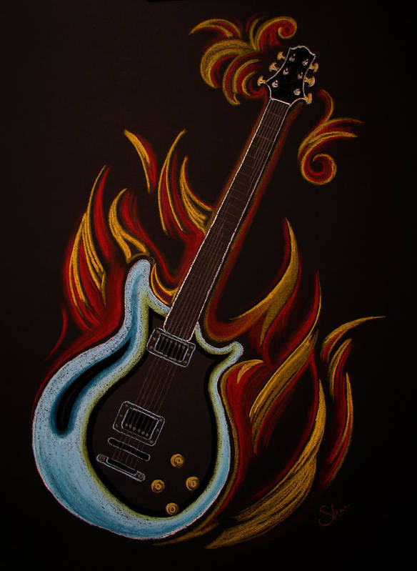 Guitar Music Musician Gibson Blue Red Flame Flames Rock Roll Classic Hard Rock Flaming Drawing Art Art Print featuring the pastel Icy Hot Axe by Chimera Kai