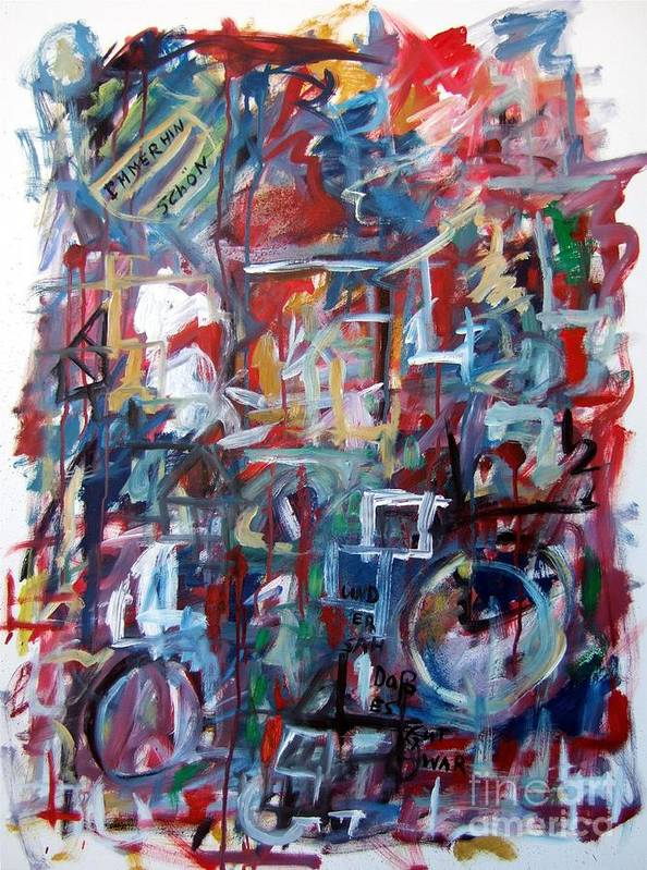 Abstract Art Print featuring the painting Immerhin Schoen by Michael Henderson