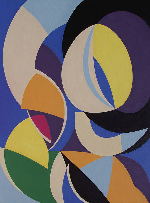 Abstract Art Print featuring the painting Improvisation 201 by Genia Yusim
