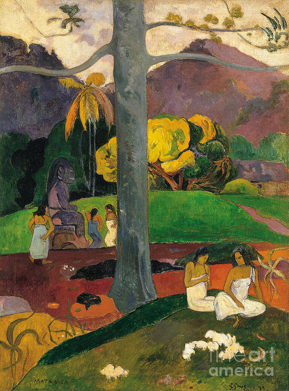 Gauguin Art Print featuring the painting In Olden Times, Mata Mua by Paul Gauguin