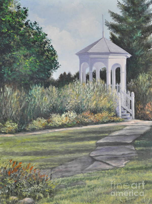 Laurel Arts Gazebo Art Print featuring the painting Invitation At Laurel Arts by Penny Neimiller
