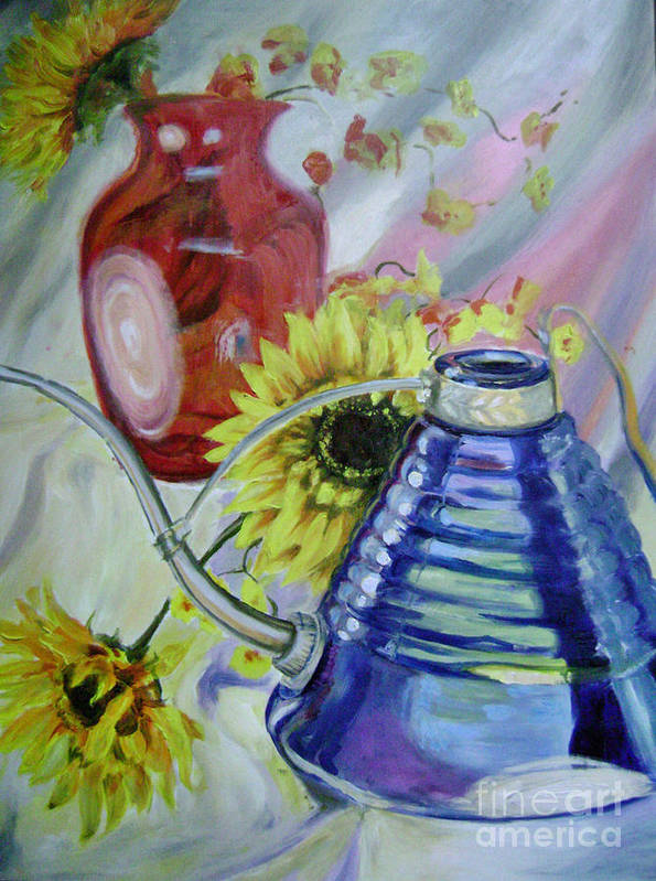 Sunflowers Art Print featuring the painting Iridescence by Lori McCray