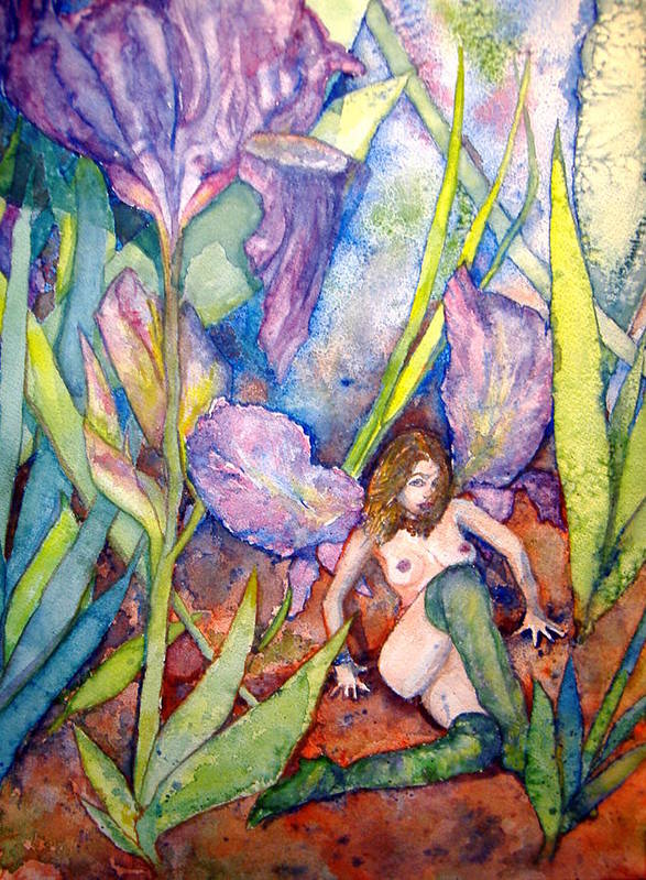 Faerie Art Print featuring the painting Iris Grantor Of Hope Wisdom And Inspiration - Watercolor by Donna Hanna
