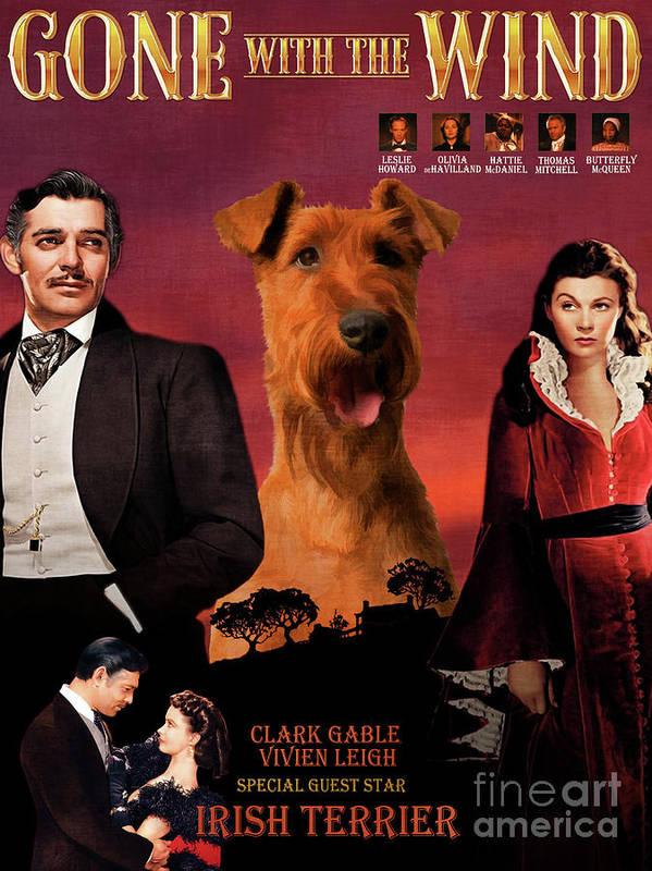 Irish Terrier Art Print featuring the painting Irish Terrier Art Canvas Print - Gone To The Wind Movie Poster by Sandra Sij