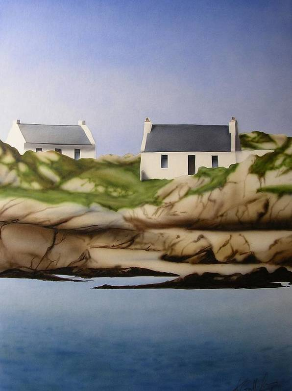 Island Cottages Ireland Seascape Art Print featuring the painting Island Cottages by Kevin Gallagher
