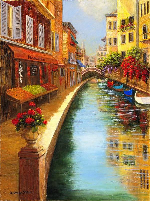 Canal. Italy Art Print featuring the painting Italys Canal Street by Jeanene Stein