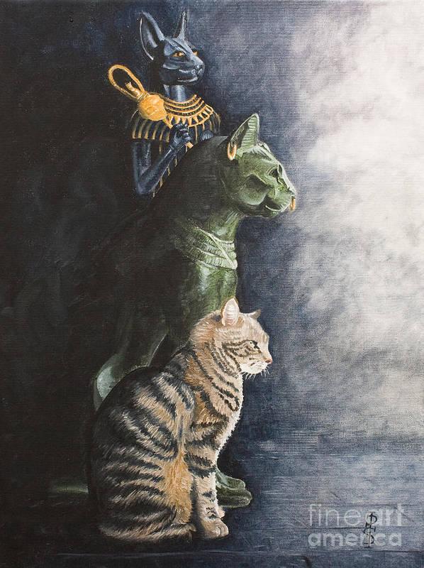 Cat Jake Bastet Egyptian Statues Gods Pet Portrait Art Print featuring the painting Jake And The Ancestors-pet Portrait by Pauline Sharp