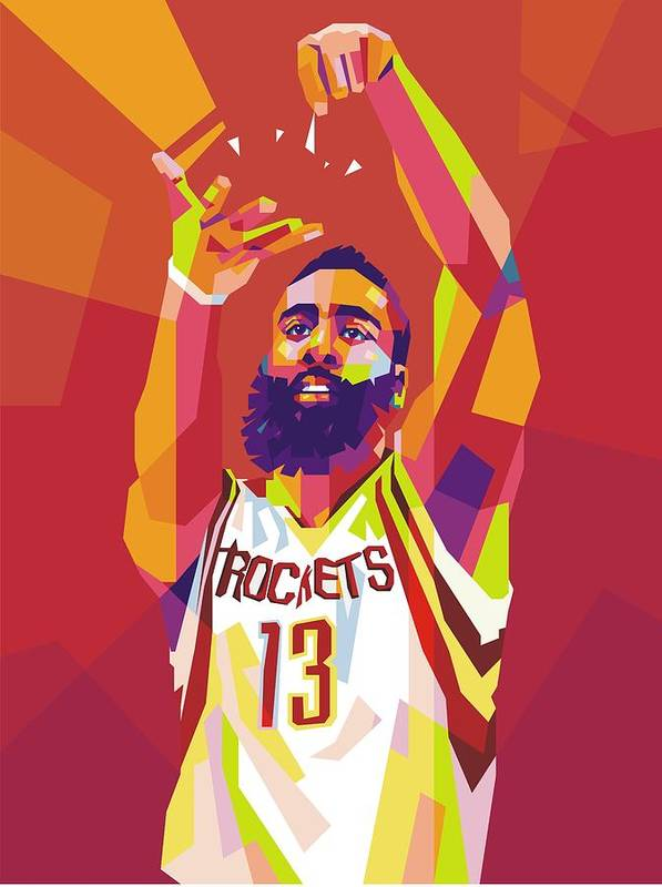 9467825baf4 James Harden Wpap Art Print by Gilang Bogy