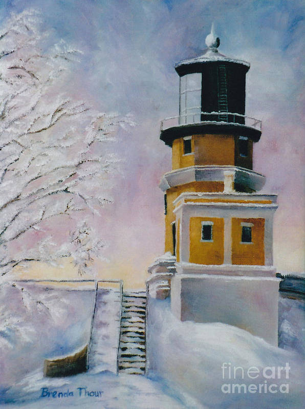 Lighthouse Art Print featuring the painting Januarys Light by Brenda Thour