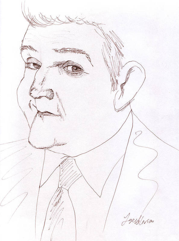 Jay Leno Art Print featuring the drawing Jay Leno by M Valeriano
