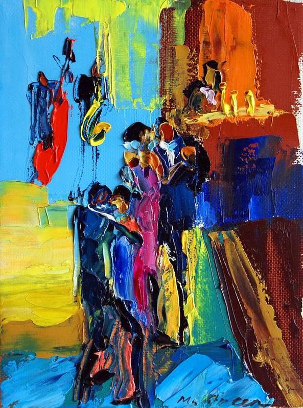 Artwork Art Print featuring the painting Jazz Club by Maya Green