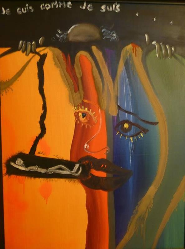 Surrealist Art Print featuring the painting Je Suis Comme Je Suis ... by Zsuzsa Sedah Mathe