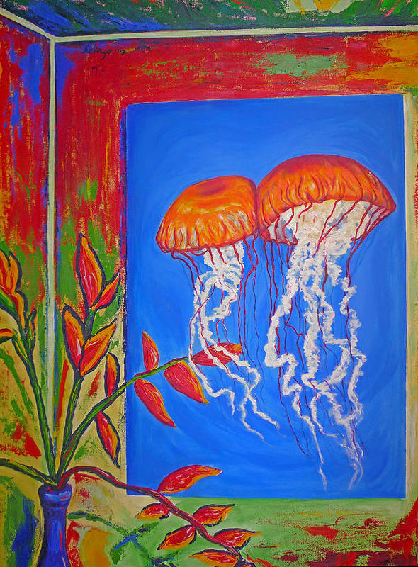 Jellyfish Art Print featuring the painting Jellyfish With Flowers by Ericka Herazo