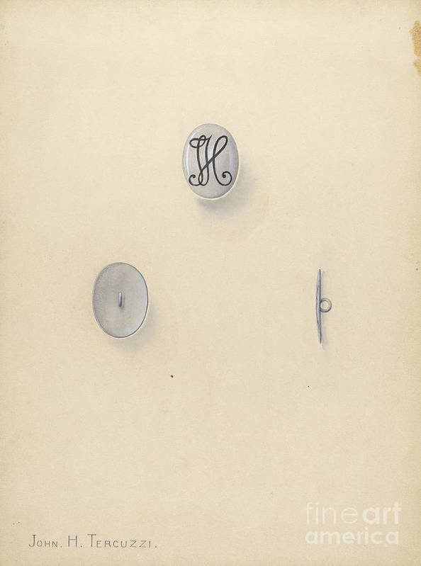 Art Print featuring the drawing Jewelry Button by John H. Tercuzzi