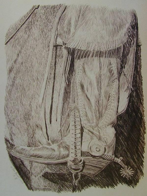 Boot Art Print featuring the drawing Jingle Bob by Dan Hausel