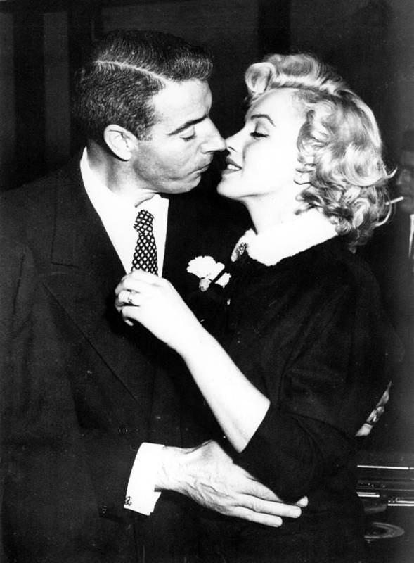 1950s Portraits Art Print featuring the photograph Joe Dimaggio, Marilyn Monroe by Everett