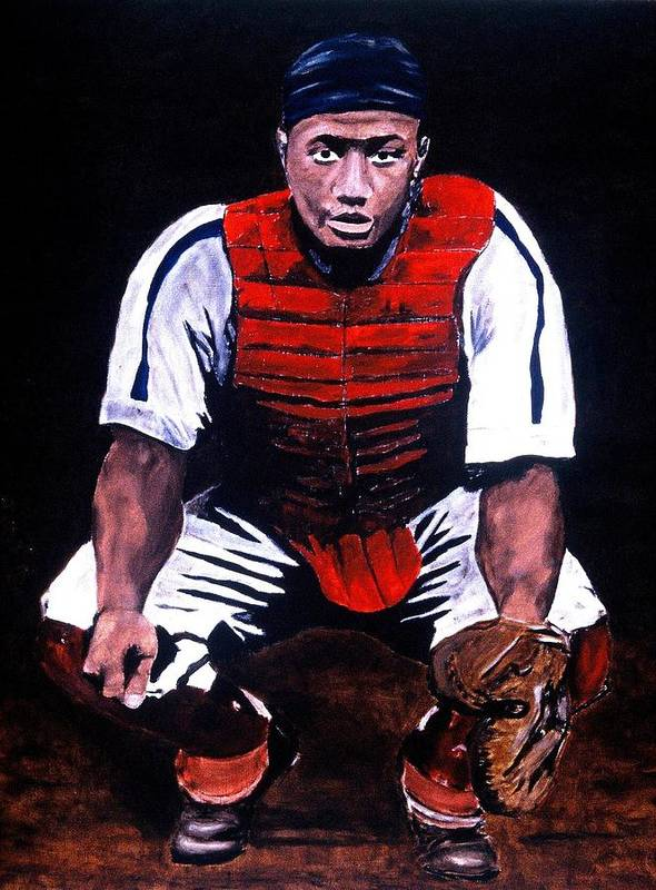 Josh Gibson Art Print featuring the painting Josh Gibson - Catcher by Ralph LeCompte