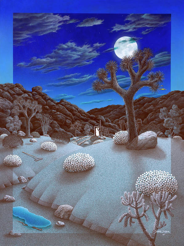 Landscape Art Print featuring the painting Joshua Tree At Night by Snake Jagger