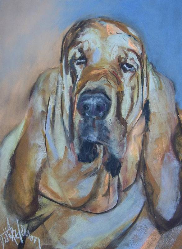 Dog Art Print featuring the painting Just Another Magic Bloodhound by Debbie Anderson