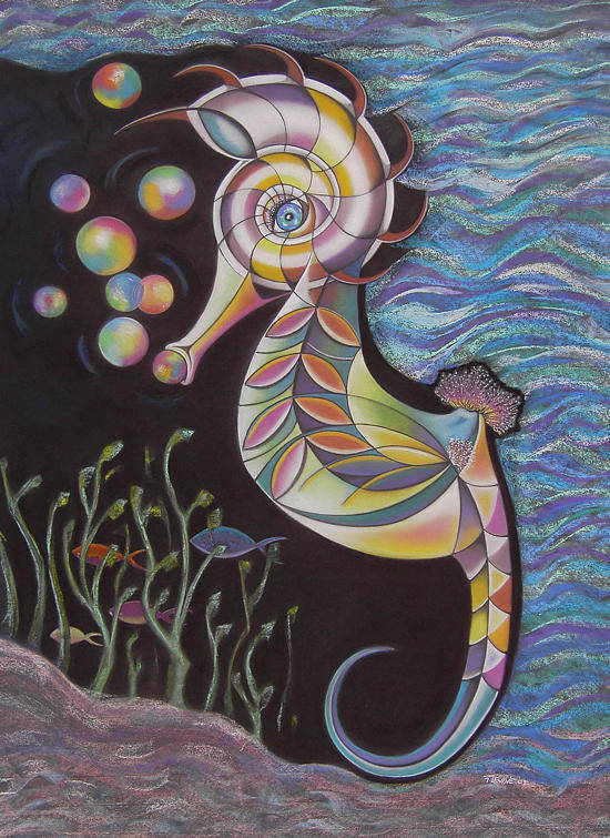 Colorful Seahorse Blowing Bubbles Art Print featuring the pastel Just Horsin Around by Tracey Levine